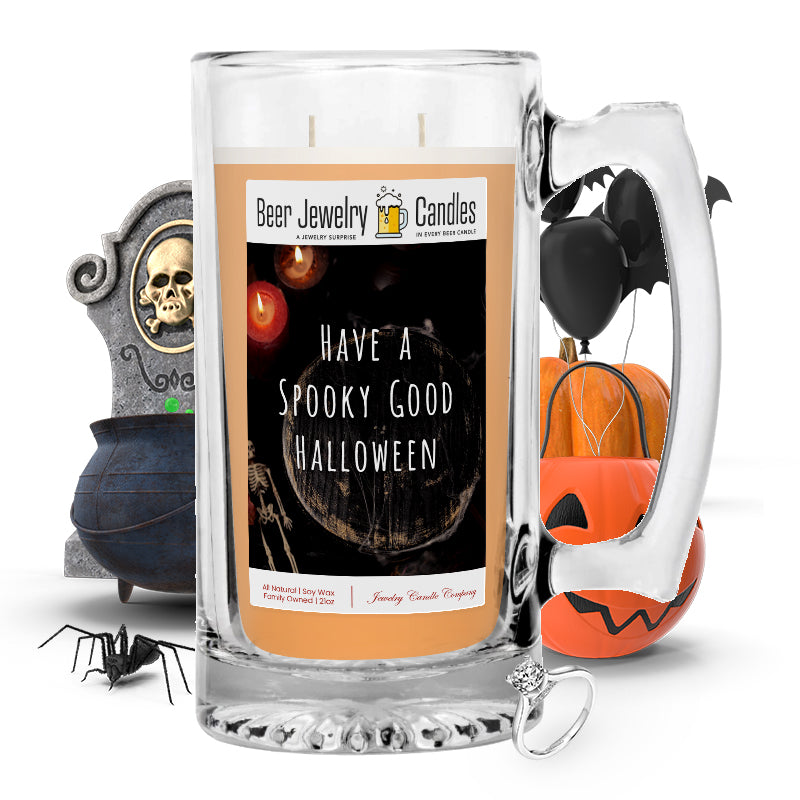 Have a spooky good halloween Beer Jewelry Candle