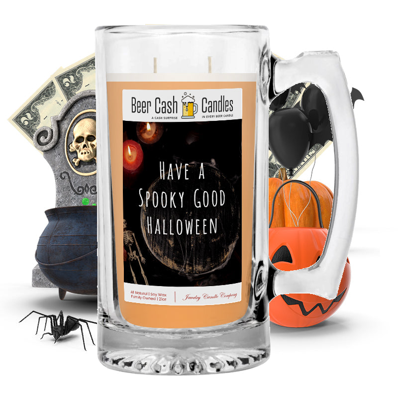 Have a spooky good halloween Beer Cash Candle
