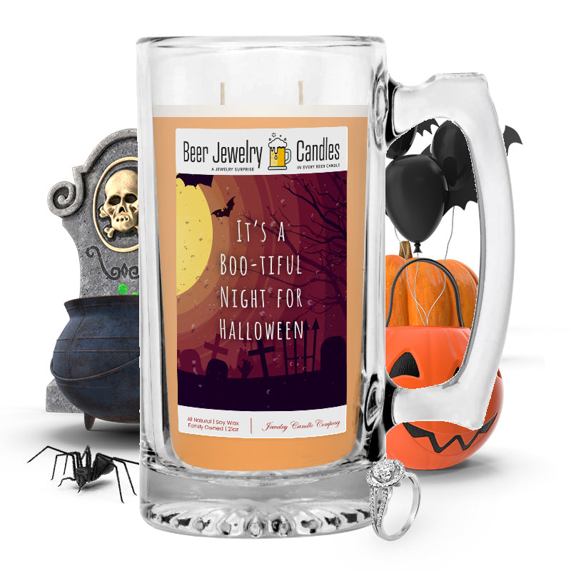 It's a boo-tiful night for halloween Beer Jewelry Candle