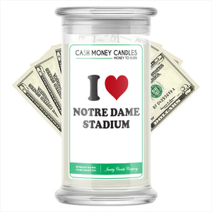 I Love NOTRE DAME STADIUM Landmark Cash Candles