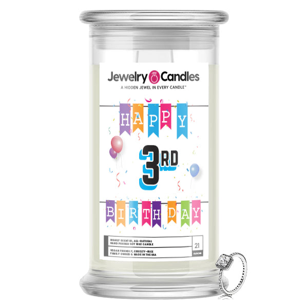 Happy 3rd Birthday Jewelry Candle
