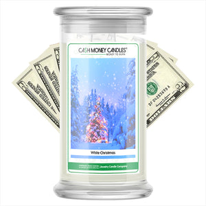 White Christmas Cash Money Candles