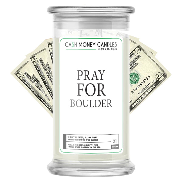 Pray For Boulder Cash Candle