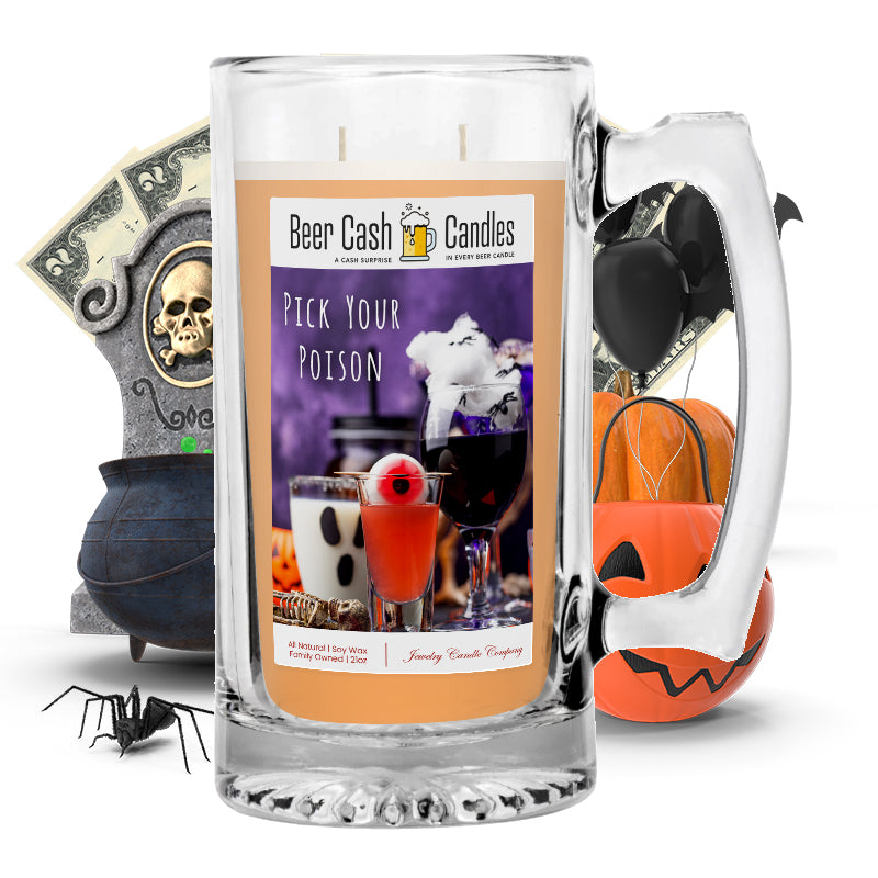 Pick your poison Beer Cash Candle