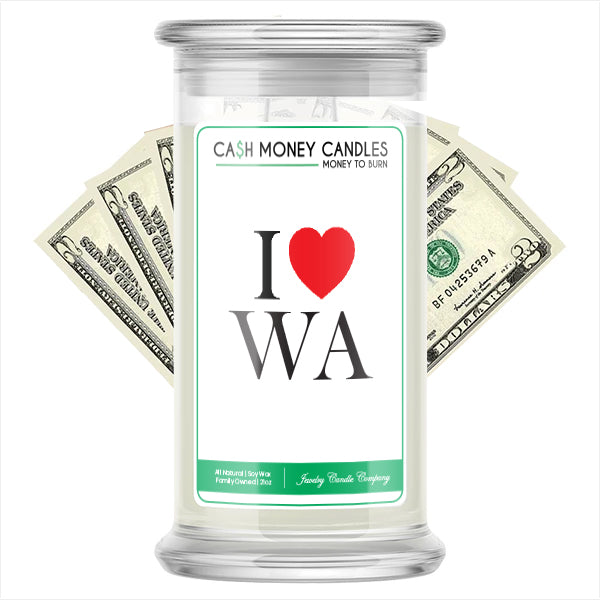 I Love WA Cash Money State Candles