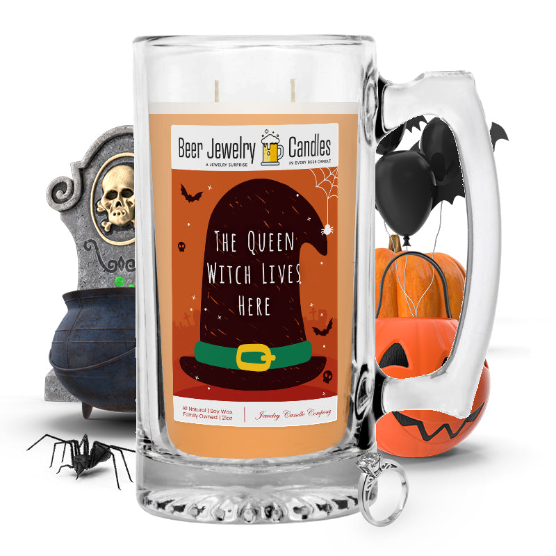 The queen witch lives here Beer Jewelry Candle