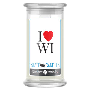 I Love WI State Candles