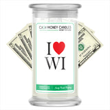 I Love WI Cash Money State Candles