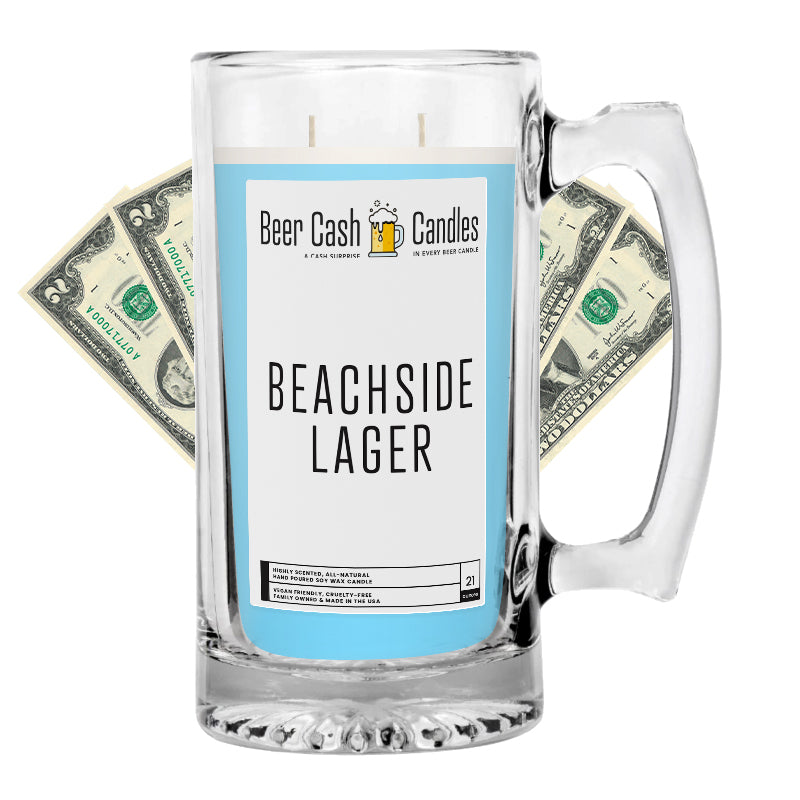 Beachside Lager Beer Cash Candle