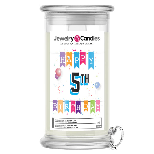 Happy 5th Birthday Jewelry Candle