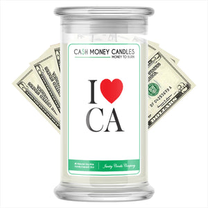 I Love CA Cash Money State Candles