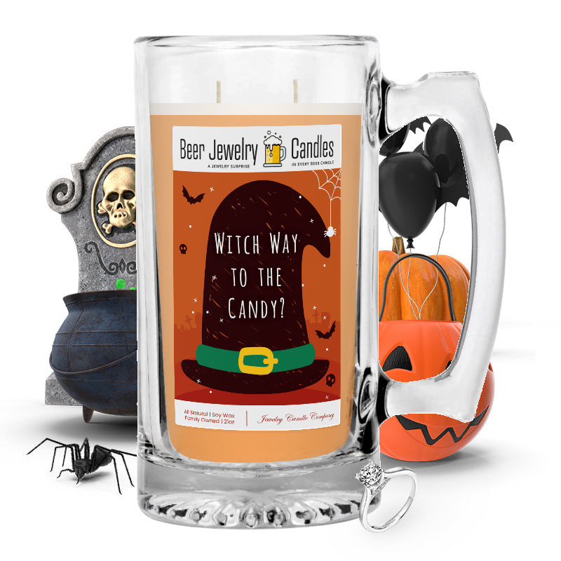 Witch way to the candy? Beer Jewelry Candle