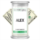 ALEX Name Cash Candles
