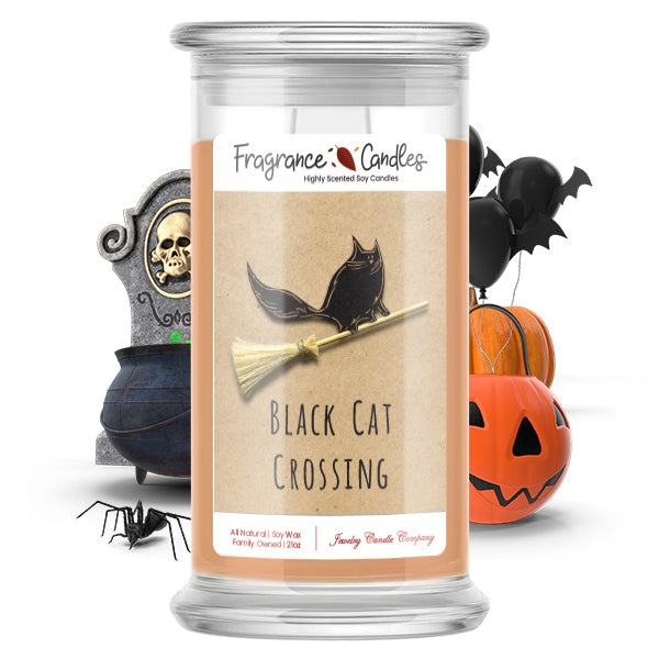 Black cat crossing Fragrance Candle
