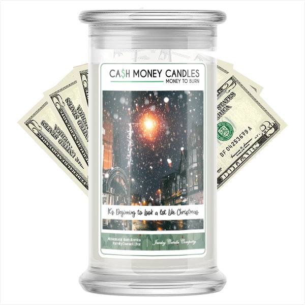 It's Begnning To Look A Lot Like Chrismas Cash Money Candle