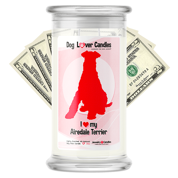 Airedale Terrier Dog Lover Cash Candle