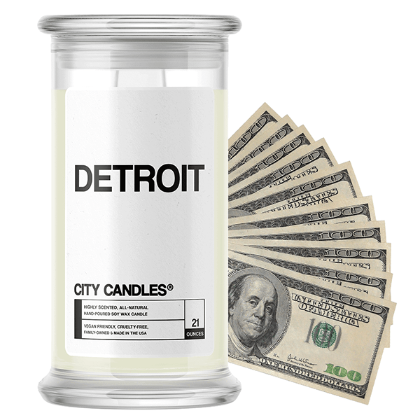 Detroit | City Cash Candle®-City Cash Candles®-The Official Website of Jewelry Candles - Find Jewelry In Candles!
