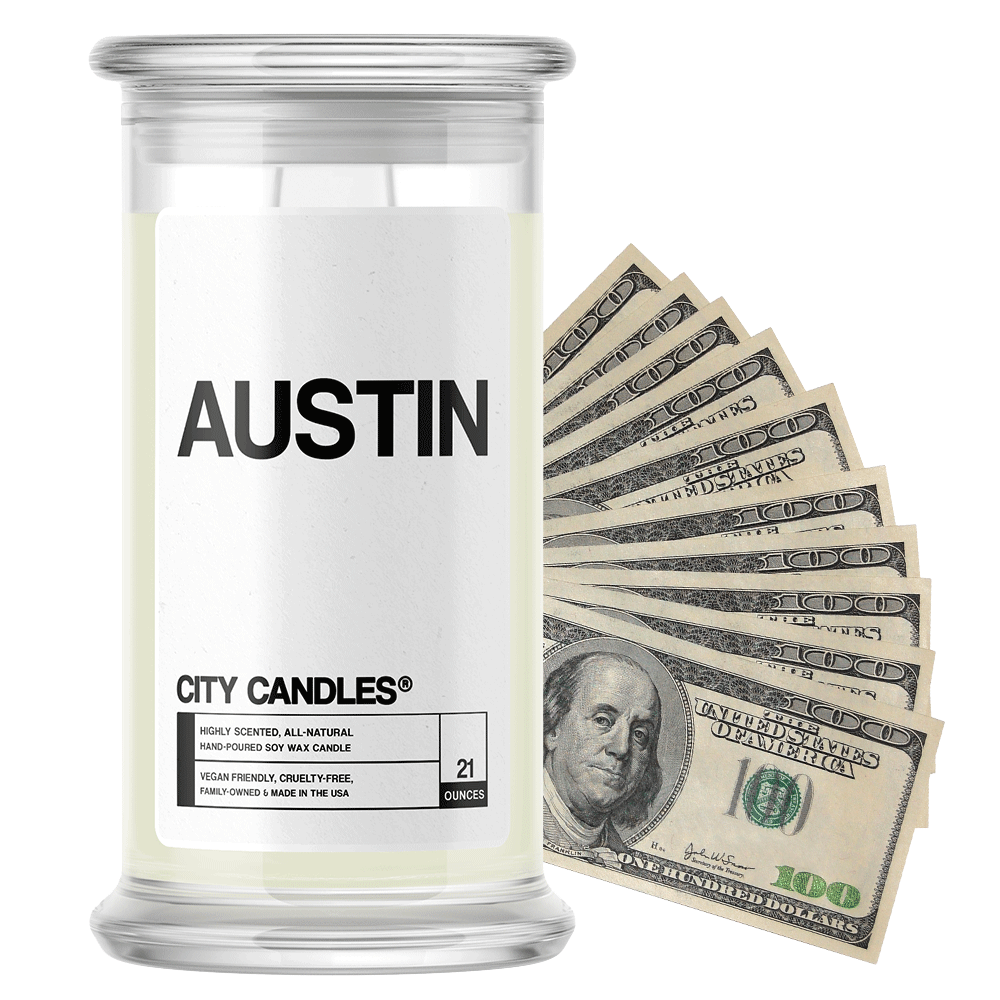Austin | City Cash Candle®-City Cash Candles®-The Official Website of Jewelry Candles - Find Jewelry In Candles!