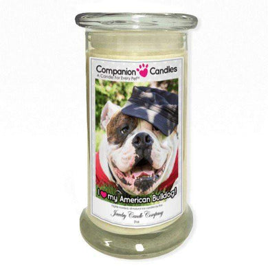 I Love My American Bulldog! - Pet Photo Companion Candles - Pet Lover Gifts-Companion Candles-The Official Website of Jewelry Candles - Find Jewelry In Candles!