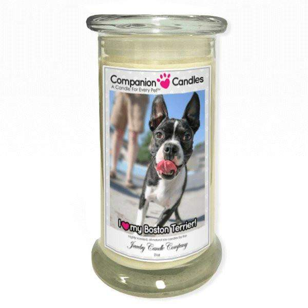 I Love My Boston Terrier! - Pet Photo Companion Candles - Pet Lover Gifts-Companion Candles-The Official Website of Jewelry Candles - Find Jewelry In Candles!