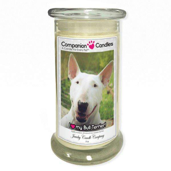 I Love My Bull Terrier! - Pet Photo Companion Candles - Pet Lover Gifts-Companion Candles-The Official Website of Jewelry Candles - Find Jewelry In Candles!