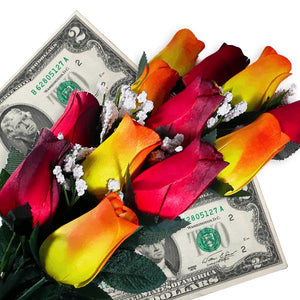 Red & Orange Yellow Ombré Bouquet | Cash Roses®-Cash Roses®-The Official Website of Jewelry Candles - Find Jewelry In Candles!