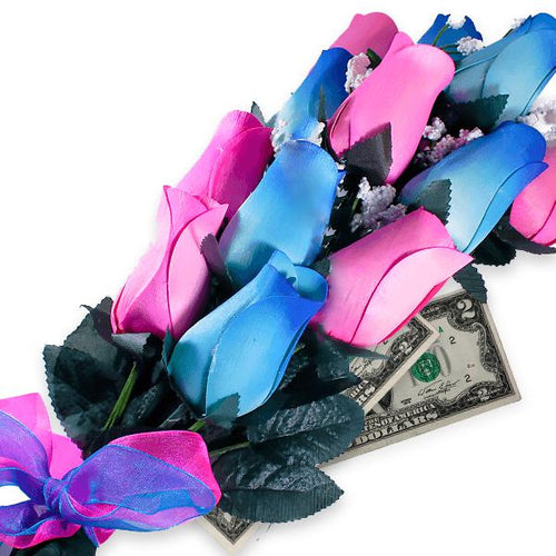 Baby Blue & Pink Bouquet | Cash Roses®-Cash Roses®-The Official Website of Jewelry Candles - Find Jewelry In Candles!