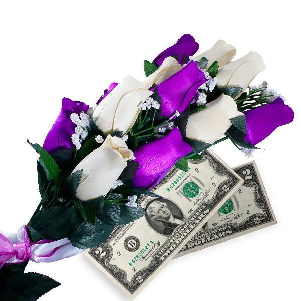 Purple & Cream Bouquet | Cash Roses®-Cash Roses®-The Official Website of Jewelry Candles - Find Jewelry In Candles!