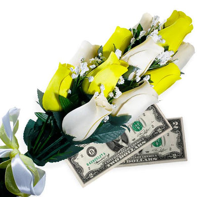 Cream & Yellow Bouquet | Cash Roses®-Cash Roses®-The Official Website of Jewelry Candles - Find Jewelry In Candles!