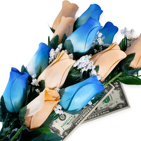Baby Blue & Peach Bouquet | Cash Roses®-Cash Roses®-The Official Website of Jewelry Candles - Find Jewelry In Candles!
