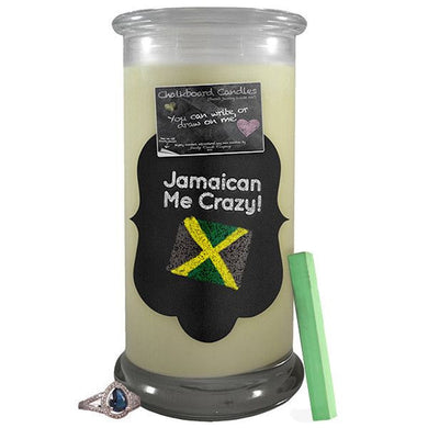 Jamaican Me Crazy! Chalkboard Candle-Chalkboard Jewelry Candles-The Official Website of Jewelry Candles - Find Jewelry In Candles!