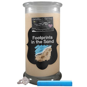 Footprints In The Sand | Chalkboard Candle-Chalkboard Jewelry Candles-The Official Website of Jewelry Candles - Find Jewelry In Candles!