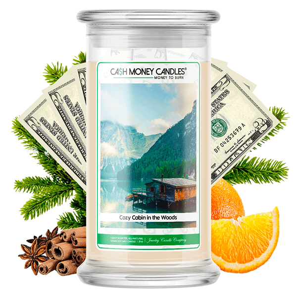 Cozy Cabin in the Woods Cash Money Candle
