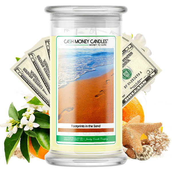 Footprints In The Sand Cash Money Candle
