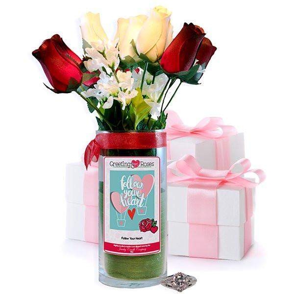Follow Your Heart Greeting Roses-Wax Dipped Roses-The Official Website of Jewelry Candles - Find Jewelry In Candles!