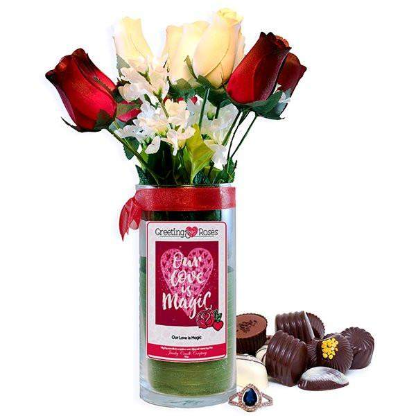 Our Love Is Magic Greeting Roses-Wax Dipped Roses-The Official Website of Jewelry Candles - Find Jewelry In Candles!