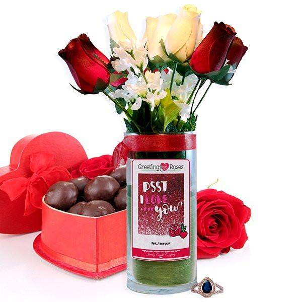 Psst... I love you! Greeting Roses-Wax Dipped Roses-The Official Website of Jewelry Candles - Find Jewelry In Candles!