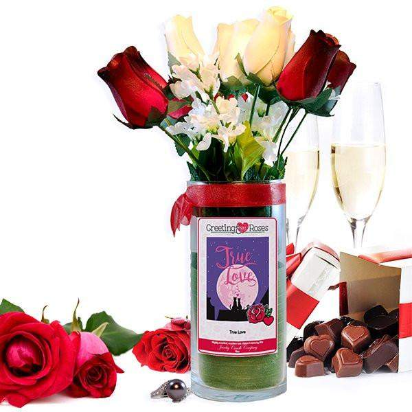 True Love Greeting Roses-Wax Dipped Roses-The Official Website of Jewelry Candles - Find Jewelry In Candles!