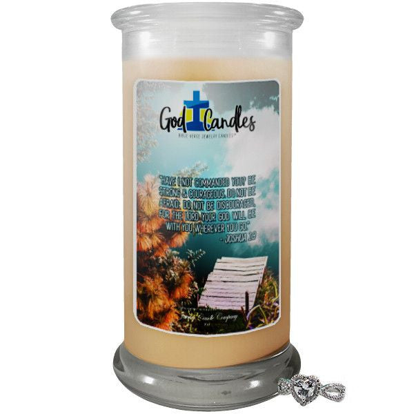 Joshua 1:9 Verse God Candle-God Candle | Bible Verse Jewelry Candles™-The Official Website of Jewelry Candles - Find Jewelry In Candles!