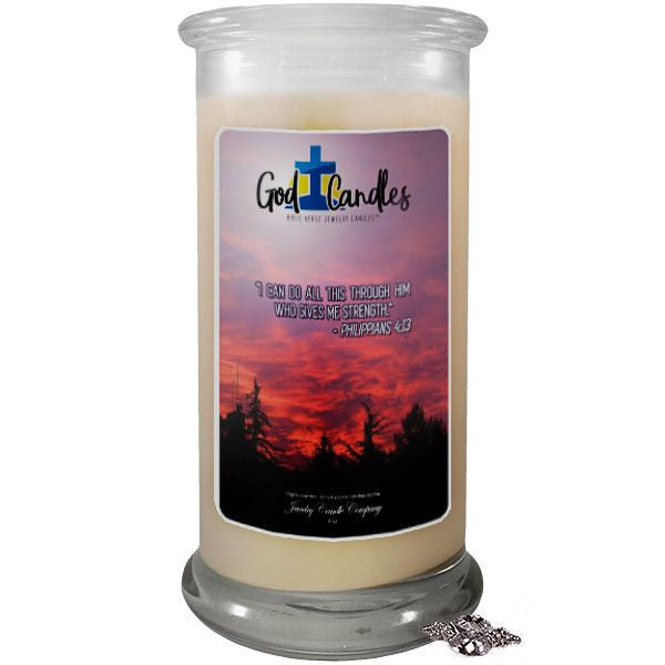 Philippians 4:13 Verse God Candle-God Candle | Bible Verse Jewelry Candles™-The Official Website of Jewelry Candles - Find Jewelry In Candles!