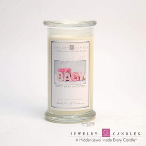 Happy Baby Shower (Girl) Jewelry Greeting Cards Candles-Happy Baby Shower! Jewelry Greeting Candle-The Official Website of Jewelry Candles - Find Jewelry In Candles!