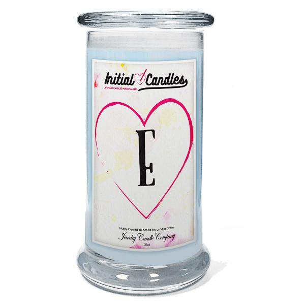 Letter E Initial Candles-Initial Candles-The Official Website of Jewelry Candles - Find Jewelry In Candles!