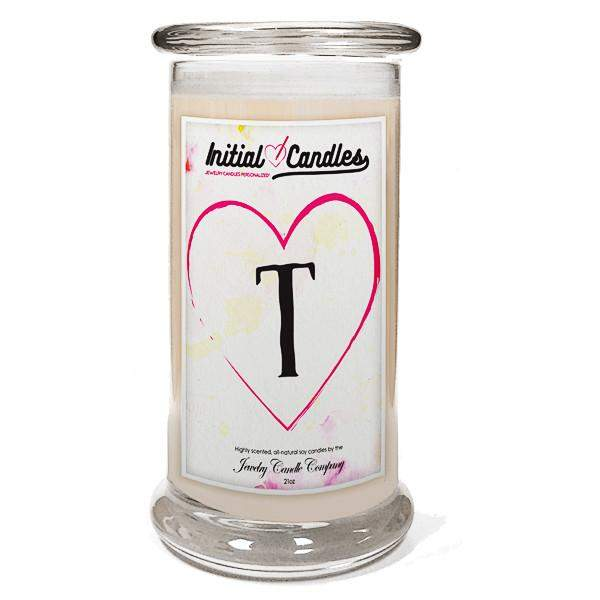 Letter T Initial Candles-Initial Candles-The Official Website of Jewelry Candles - Find Jewelry In Candles!