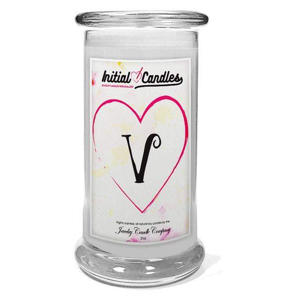 Letter V Initial Candles-Initial Candles-The Official Website of Jewelry Candles - Find Jewelry In Candles!