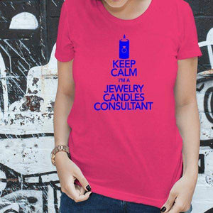 Blue On Hot Pink Keep Calm Short-Sleeve Shirt - Jewelry Clothing-Jewelry Apparel-The Official Website of Jewelry Candles - Find Jewelry In Candles!