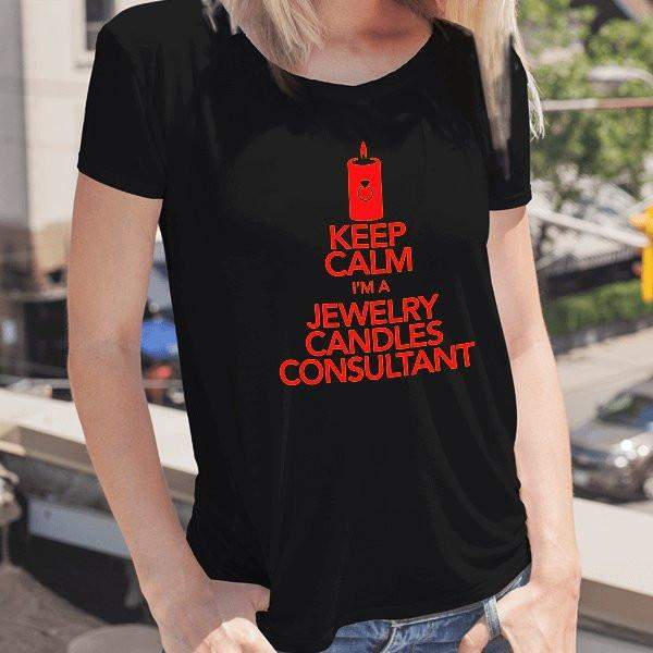 Red on Black Keep Calm Short-Sleeve Shirt - Jewelry Clothing-Jewelry Apparel-The Official Website of Jewelry Candles - Find Jewelry In Candles!