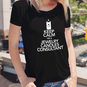 White On Black Keep Calm Short-Sleeve Shirt - Jewelry Clothing-Jewelry Apparel-The Official Website of Jewelry Candles - Find Jewelry In Candles!
