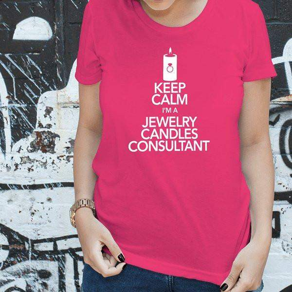 White On Hot Pink Keep Calm Short-Sleeve Shirt - Jewelry Clothing-Jewelry Apparel-The Official Website of Jewelry Candles - Find Jewelry In Candles!