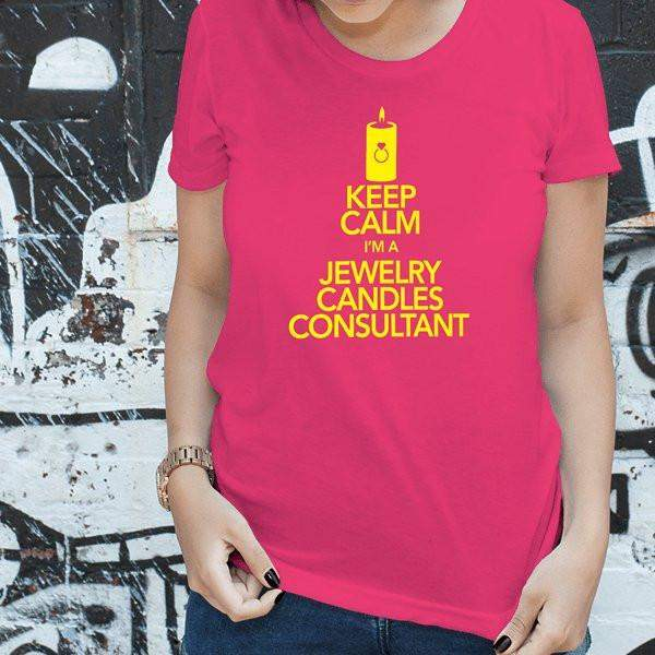 Yellow on Hot Pink Keep Calm Short-Sleeve Shirt - Jewelry Clothing-Jewelry Apparel-The Official Website of Jewelry Candles - Find Jewelry In Candles!