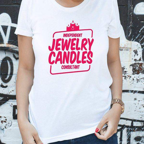 Hot Pink On White Short-Sleeve Shirt -Jewelry Clothing-Jewelry Apparel-The Official Website of Jewelry Candles - Find Jewelry In Candles!